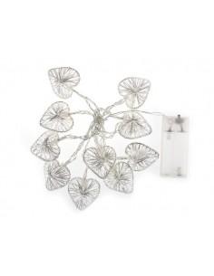 Guirlande led - 10 boules metalliques en forme de coeur  - blanc chaud