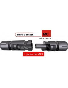 5 paires de connecteurs, fiches mc4 male et femelle (4-6 mm2) multi-contact