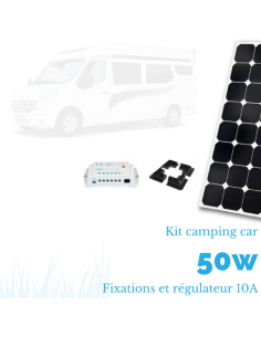 Kit panneau solaire camping car 50 W complet 12 V