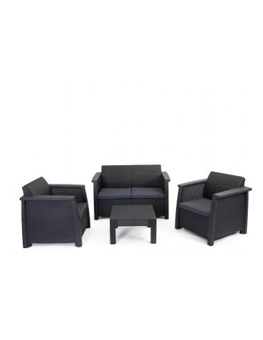 Salon de jardin en r sine 3 fauteuils et table basse gris for Table de jardin resine gris anthracite