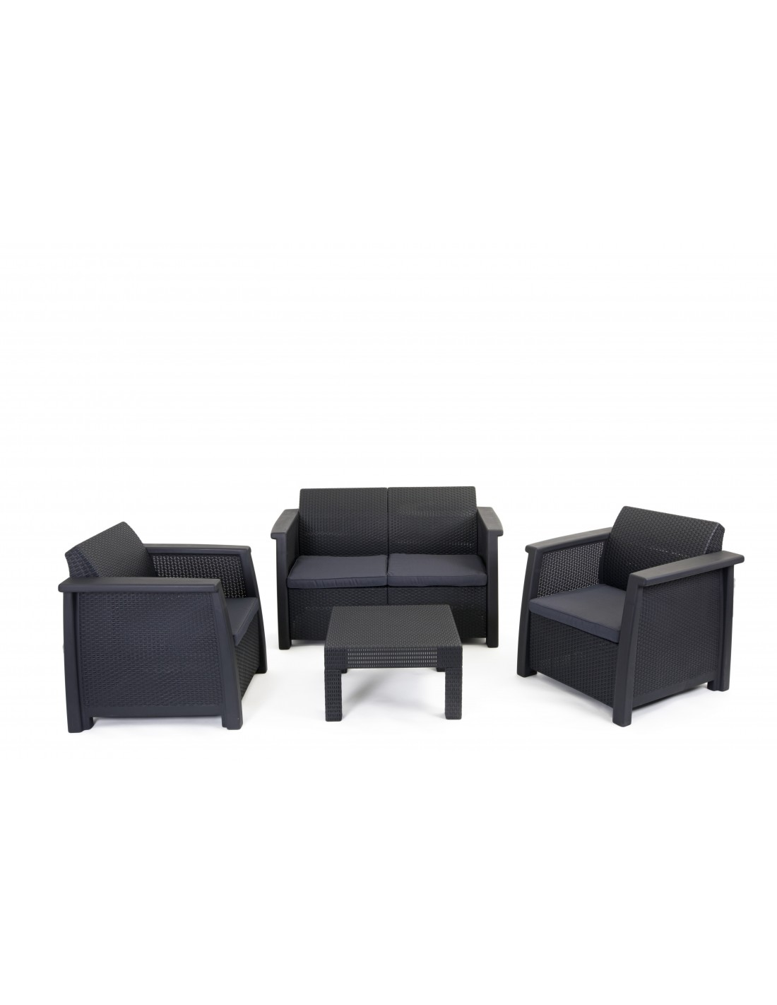 Salon de jardin en r sine 3 fauteuils et table basse gris - Table basse gris anthracite ...