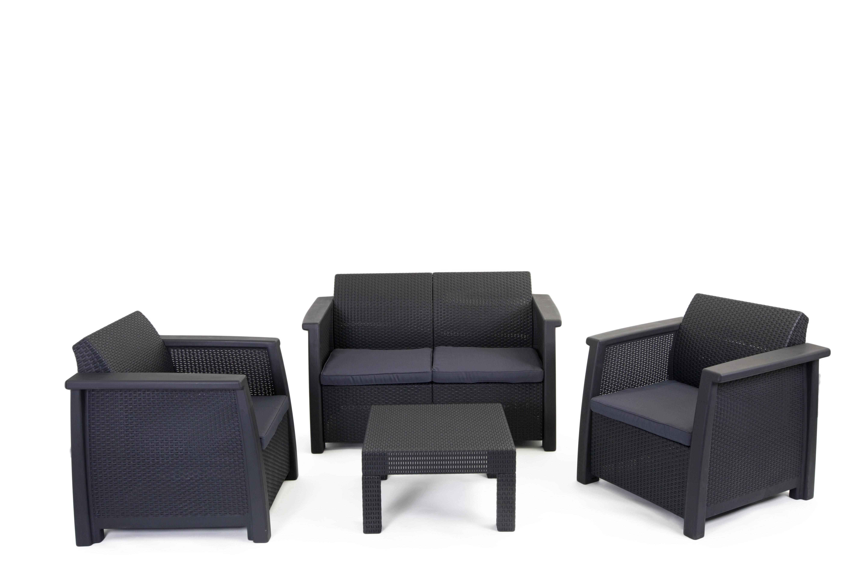Salon de jardin en résine 3 fauteuils et table basse gris anthracite
