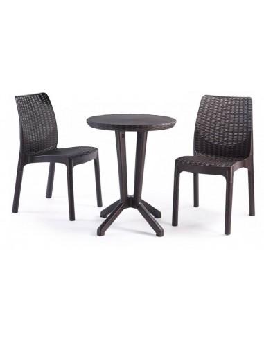 Salon de jardin en résine 2 chaises et table bistro