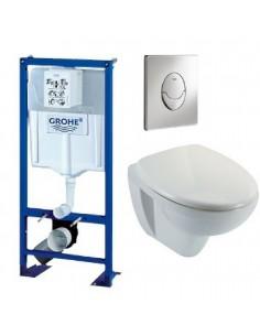 Bati support wc suspendu grohe autoportant plaque grise first