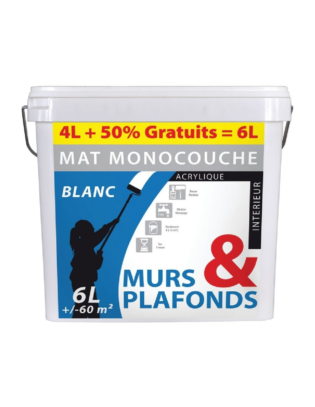 peinture monocouche murs et plafonds acrylique pot 4 l 2 l gratuit blanc mat peinture. Black Bedroom Furniture Sets. Home Design Ideas
