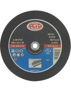 Disque abrasif à moyeu plat machine élec. chantier  désignation métaux ø x ep (mm) 300 x 3,5 alésage (mm) 25,4