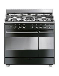Centre de cuisson noir 90cm SMEG,double four pyrolyse