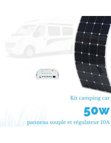 Kit panneau solaire souple camping car 50 W complet 12 V