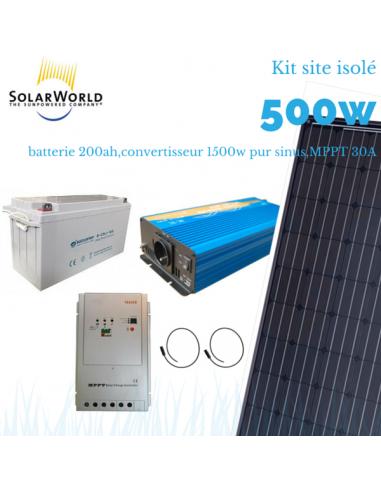 Kit solaire 500 Wc, convertisseur 1500 watts, batterie 200 Ah