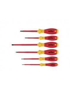 Wiha - jeu de tournevis softfinish® electric fente/phllips - 6 pcs - isolation 1000 vca