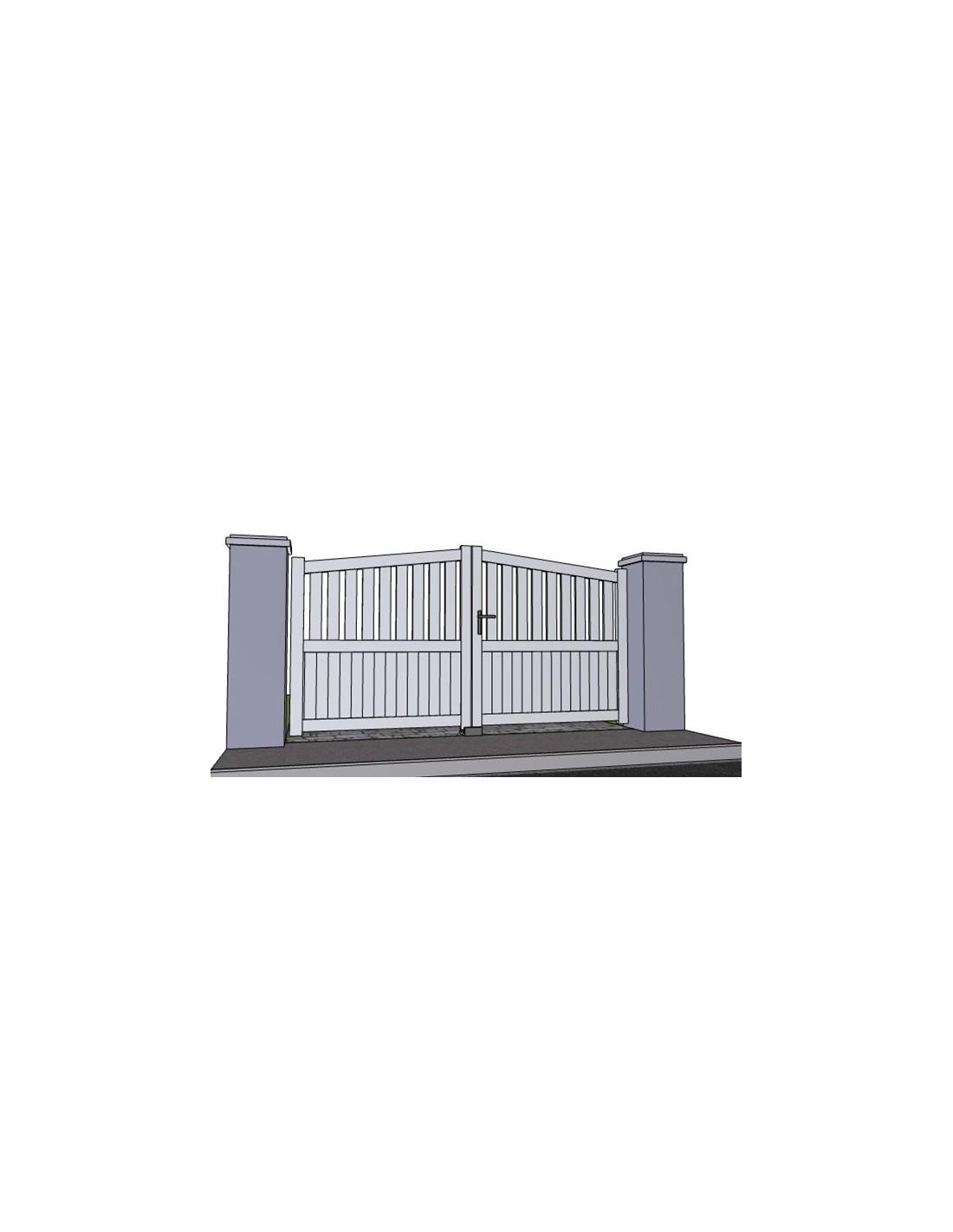 Portail battant aluminium ajoure ciboure biais haut sur mesure for Portail alu 2m50