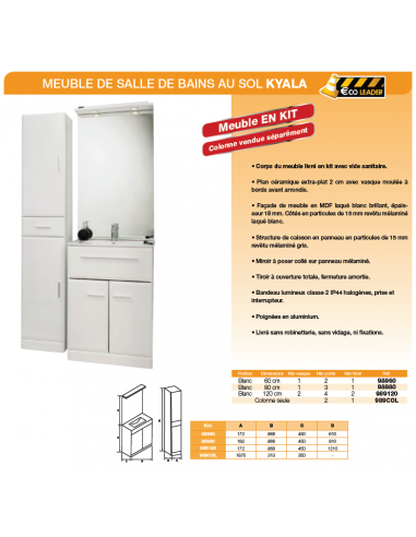 meuble de salle de bains au sol 60 cm kyala salle de bain wc. Black Bedroom Furniture Sets. Home Design Ideas