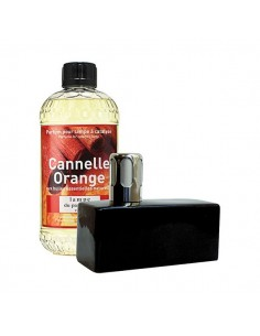 Coffret lampe brique noir + recharge 500ml  cannelle orange