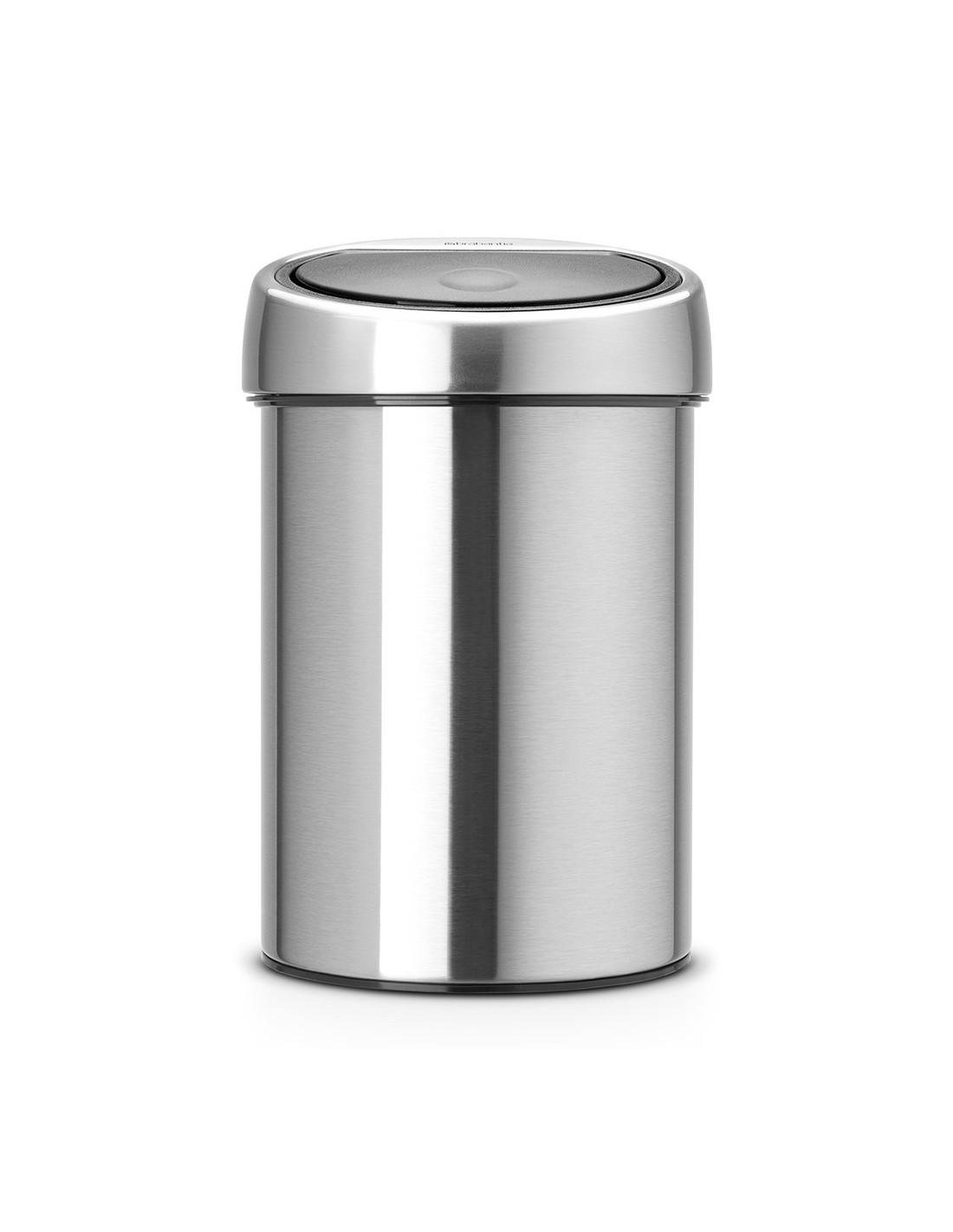 poubelle de salle de bains touch bin 3 litres mat steel. Black Bedroom Furniture Sets. Home Design Ideas