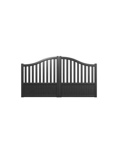 portail aluminium gris standard semi ajoure chapeau de gendarme largeur x. Black Bedroom Furniture Sets. Home Design Ideas