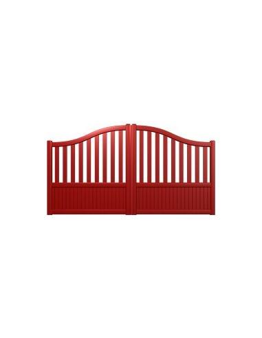 portail aluminium rouge standard semi ajoure chapeau de gendarme largeur x. Black Bedroom Furniture Sets. Home Design Ideas