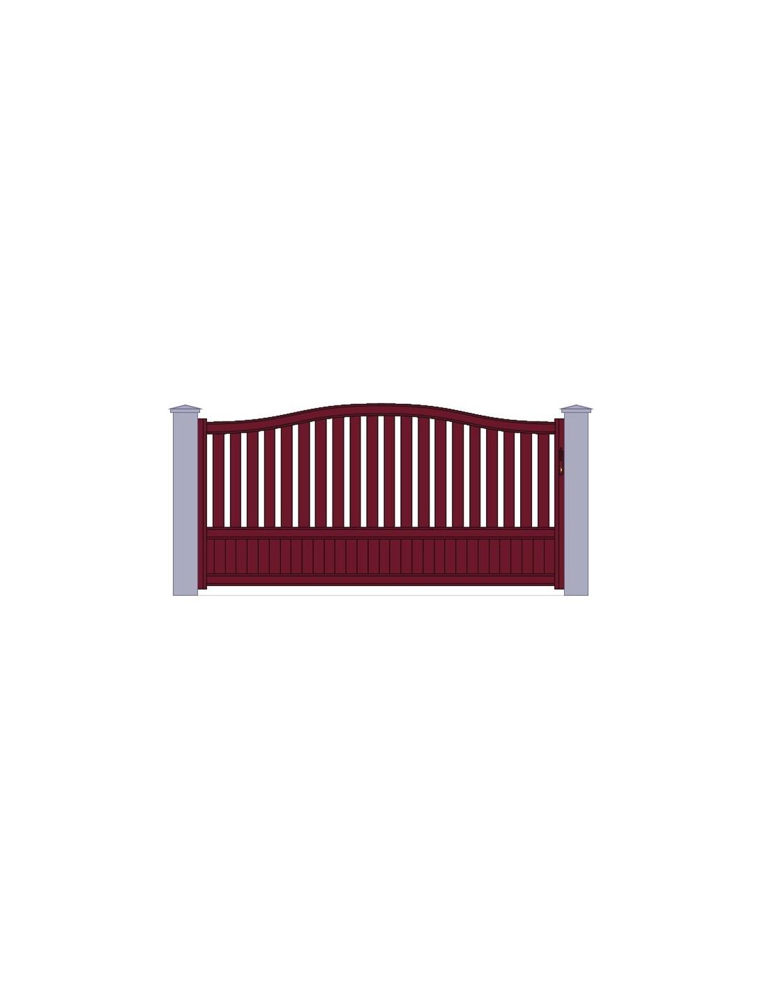 Portail Aluminiun Rouge Standard Coulissant Chapeau De Gendarme Largeur X