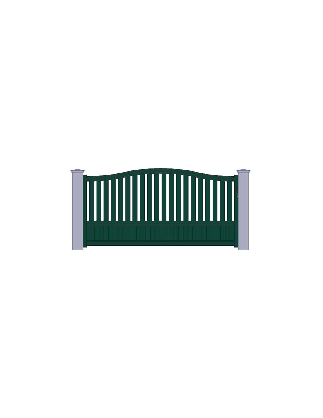 portail aluminiun vert standard coulissant chapeau de gendarme largeur x. Black Bedroom Furniture Sets. Home Design Ideas