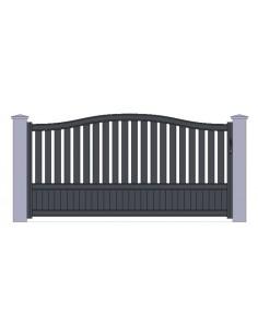 portail aluminiun gris standard coulissant chapeau de gendarme largeur x. Black Bedroom Furniture Sets. Home Design Ideas