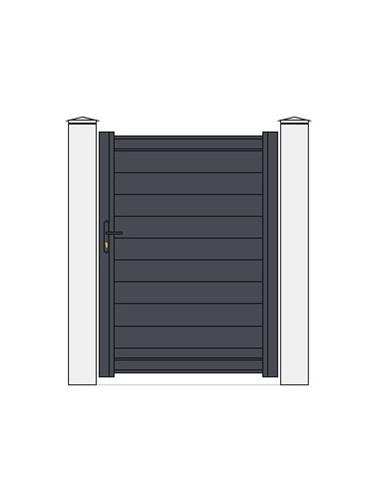 portillon aluminium mod le anael x droit plein gris 7024. Black Bedroom Furniture Sets. Home Design Ideas