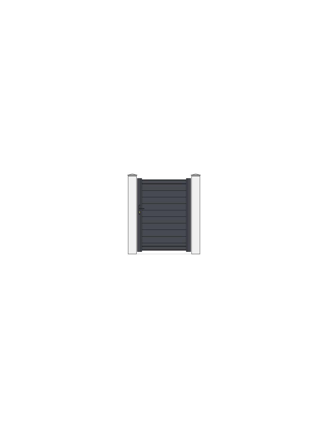 Portillon aluminium mod le anael x droit plein for Portillon alu gris