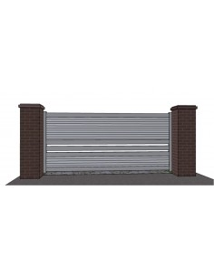 Portail aluminium  coulissant design contemporain