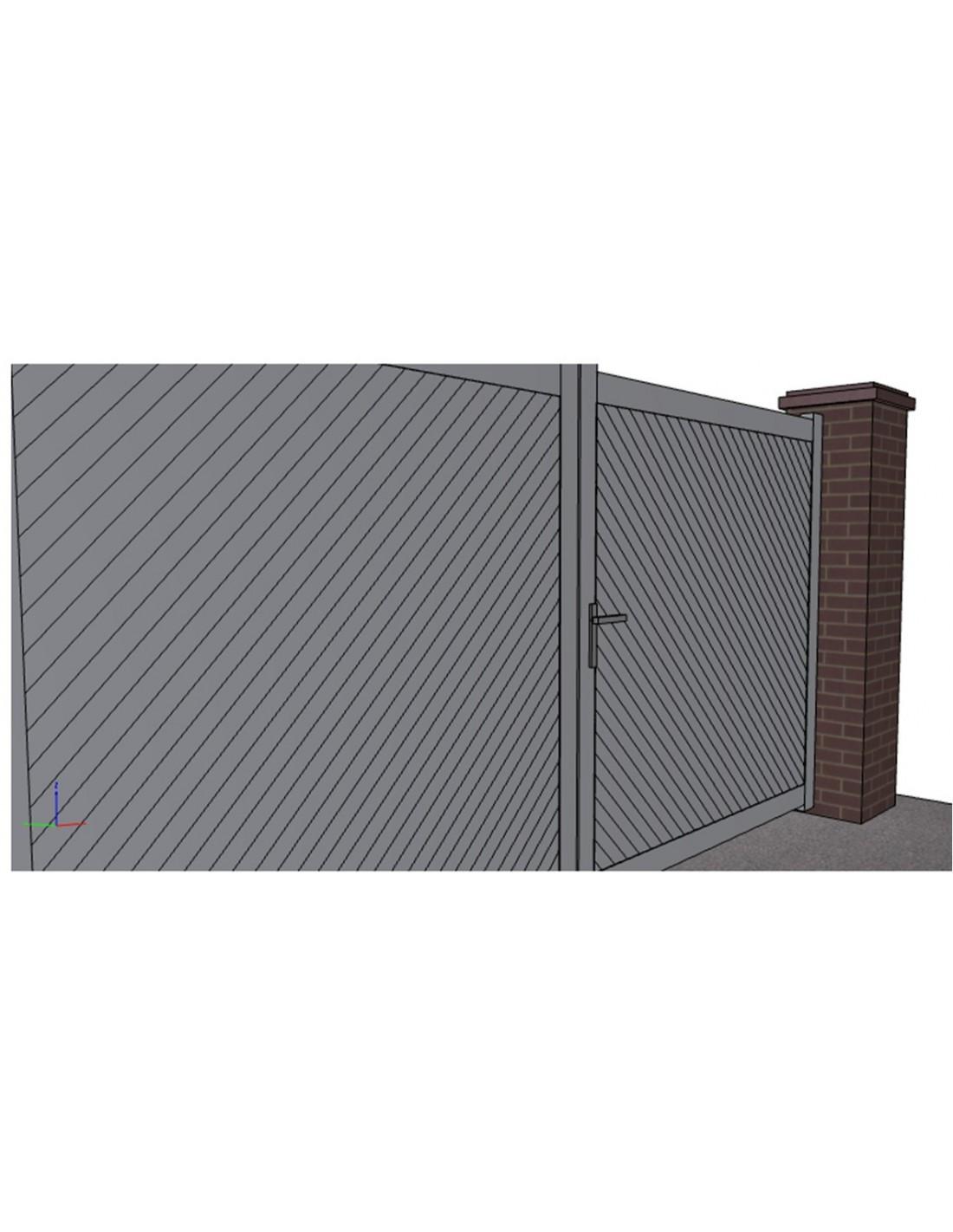 portail aluminium ouvrant plein droit lames en diagonale. Black Bedroom Furniture Sets. Home Design Ideas
