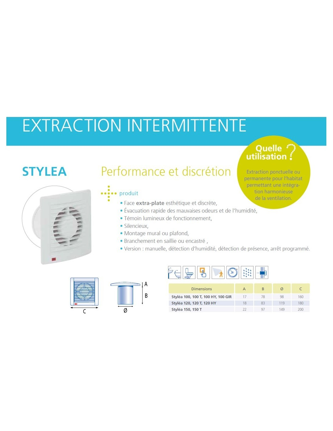 Ventilateur salle de bains extracteur d 39 air intermittent for Extracteur d air hygroreglable