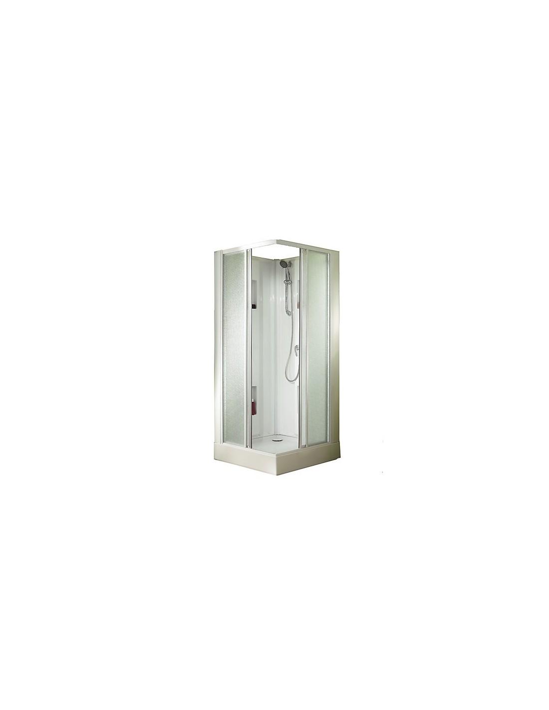 Cabine de douche 90x90 izibox carr e porte coulissante leda for Porte de douche 90x90