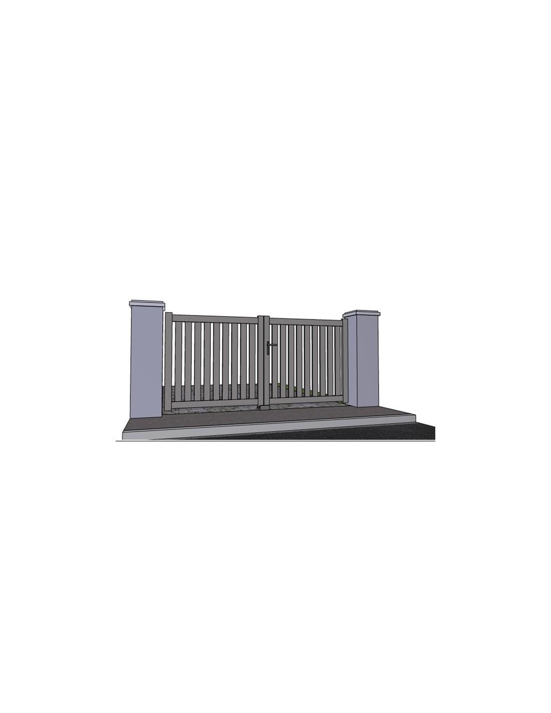 Portail aluminium battant ajour droit sur mesure for Portail alu 2m50