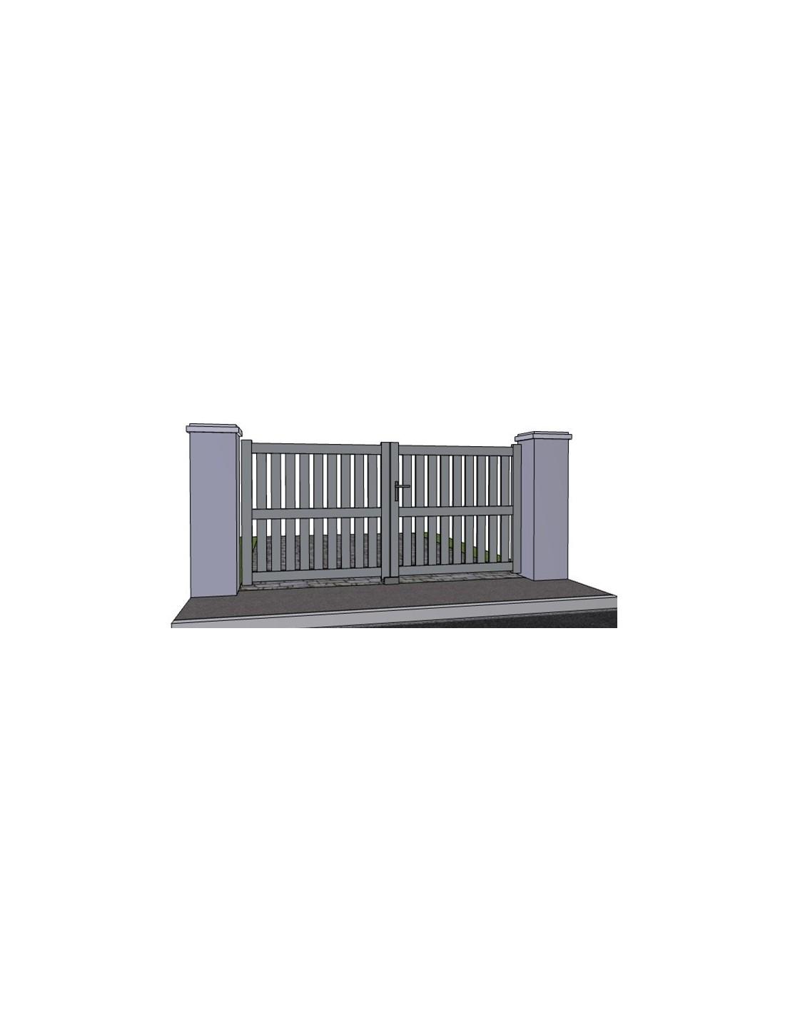 Portail aluminium battant ajour droit et traverse sur mesure for Portail largeur 2m50