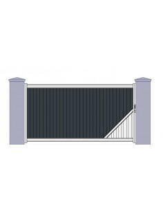 Portail aluminium coulissant design contemporain rennes