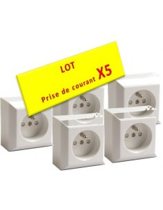 Lot de 5 Prises de courant en saillie