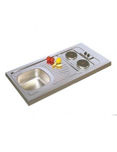 Evier cuisine inox avec plaques de cuisson 100x60 - Meuble plaque de cuisson ...