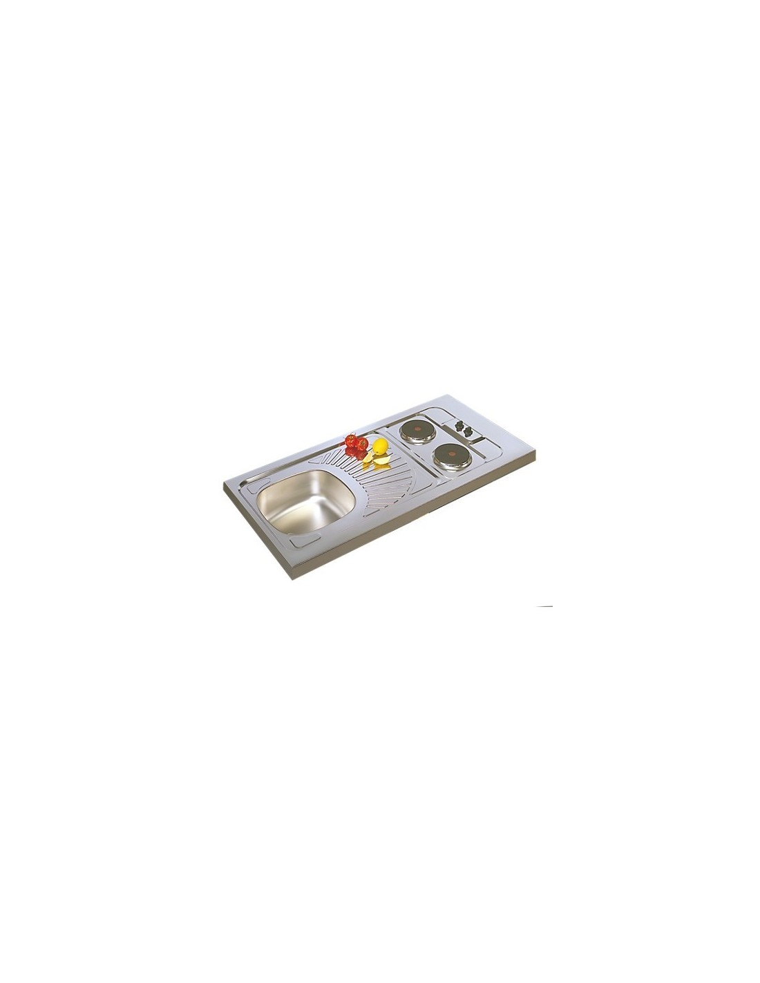 evier cuisine inox avec plaques de cuisson 100x60