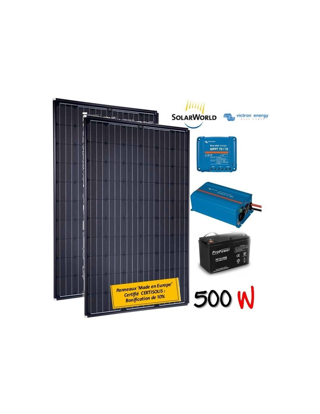 kit solaire 500w batterie 200 ah 700w victron. Black Bedroom Furniture Sets. Home Design Ideas