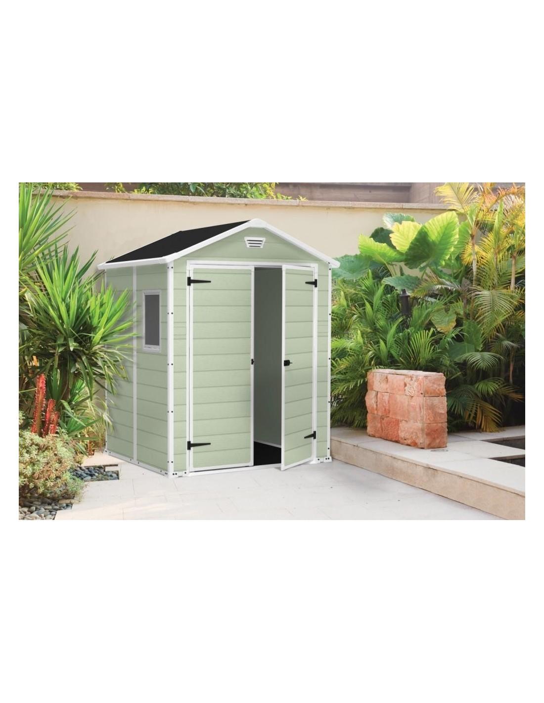Abri de jardin premium 65 2 portes vert en r sine 2 8 m3 - Abri de jardin en resine premium 65 ...