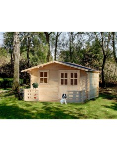 Chalet de jardin en bois avec terrasse 4x5m ép 34mm2