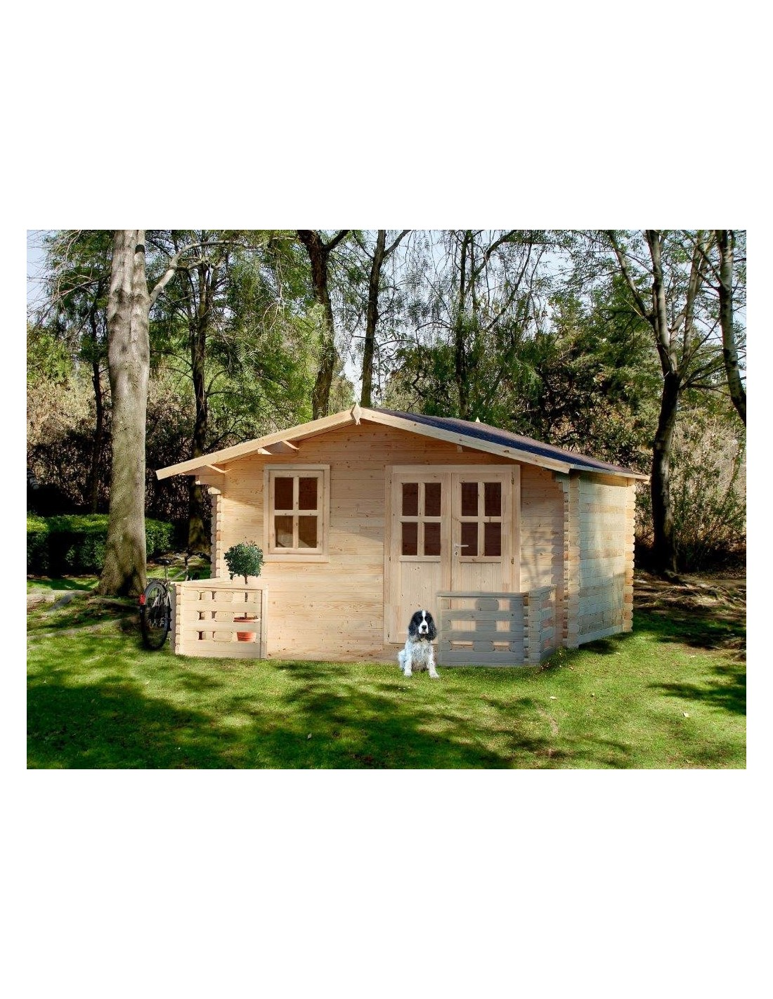 chalet de jardin en bois 4x5m p 34mm2 avec terrasse. Black Bedroom Furniture Sets. Home Design Ideas