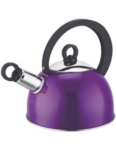 Bouilloire à sifflet inox couleur bg aubergine