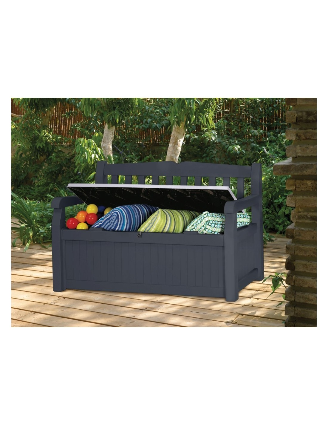 coffre banc de jardin ou terrasse gris anthracite 265 l en pvc. Black Bedroom Furniture Sets. Home Design Ideas