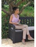 Coffre banc gris anthracite 265 L en résine PVC