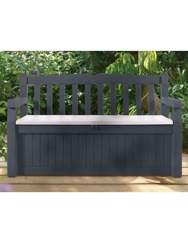 Coffre banc de jardin ou terrasse gris anthracite 265 l en pvc for Portillon pvc gris anthracite