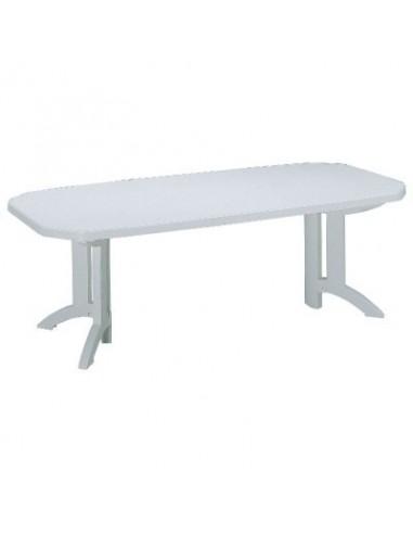 Salon r sine blanche bg table vega 1 rallonge - Table de jardin resine blanche ...
