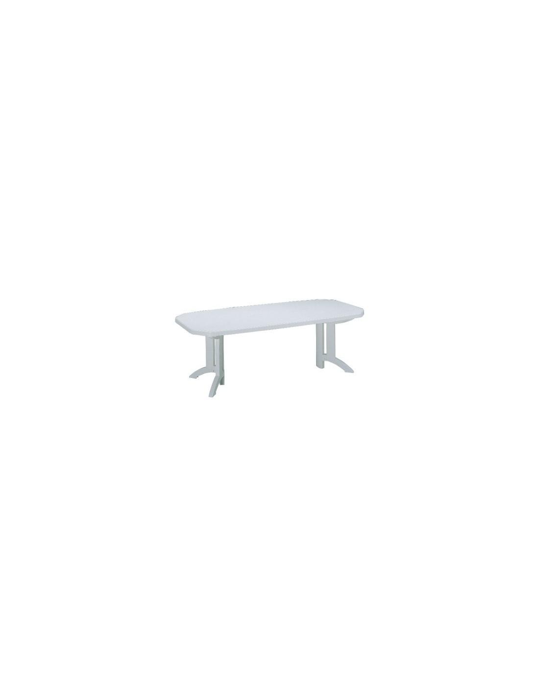 Salon r sine blanche bg table vega 1 rallonge - Table de jardin en resine blanche ...