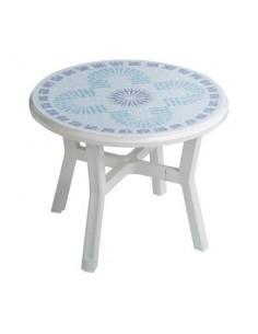Salon blanc résine décore table ronde vg table