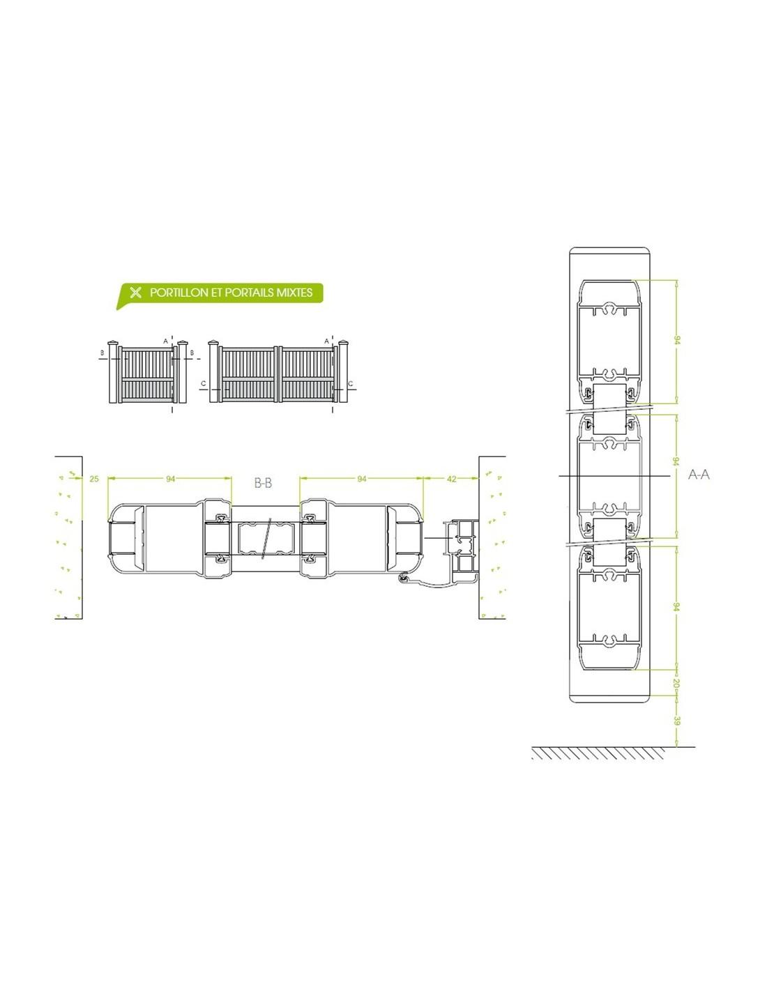 Portail battant aluminium design marit sur mesure de for Portail alu battant sur mesure