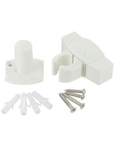Arretoir porte clip blanc for Bloc porte pvc