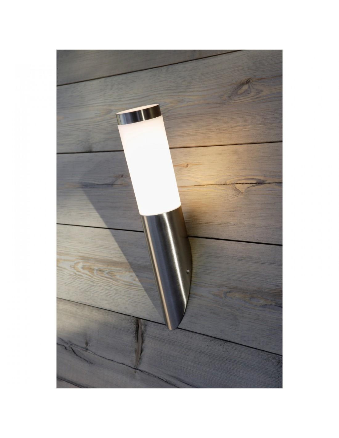 Applique ext rieure inox brillant h36 cm for Applique murale exterieur brico leclerc