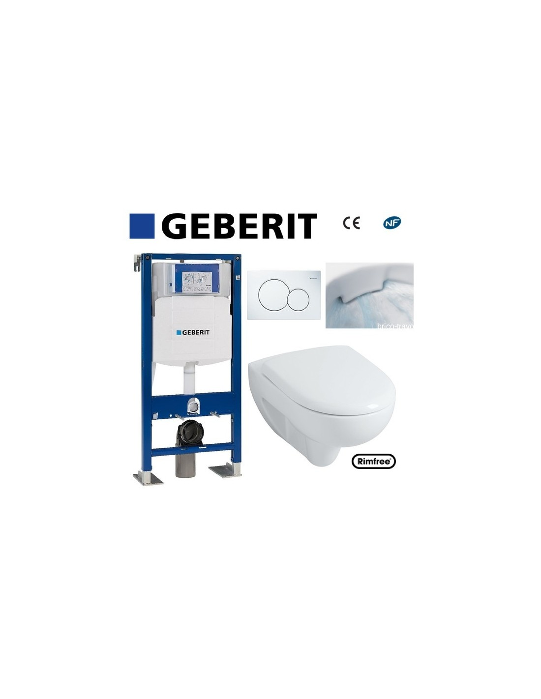 Wc suspendu geberit plaque blanche rimfree complet ebay for Pose wc suspendu geberit